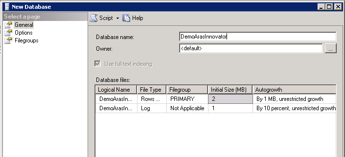 create microsoft SQL server database