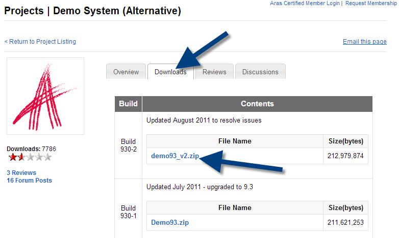 Aras project PLM download system