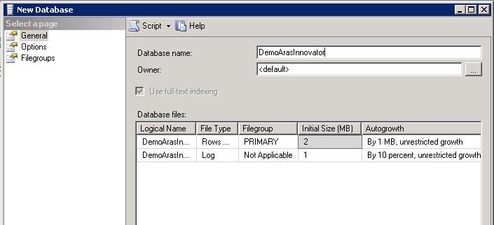 create microsoft SQL server database