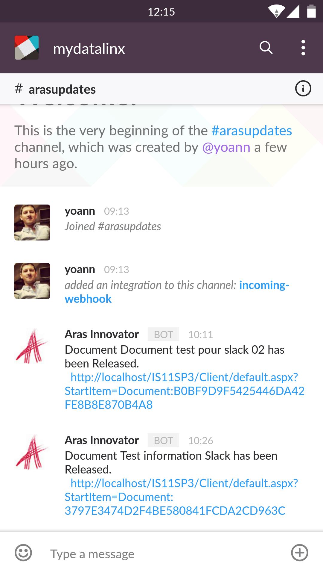 Slack Aras Innovator sur Android